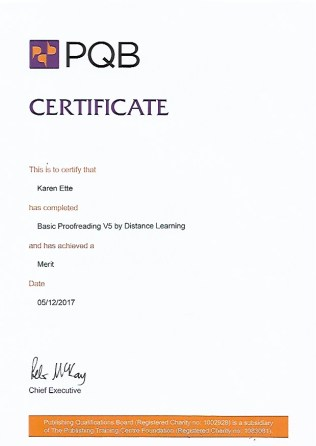 Proofreading certificate